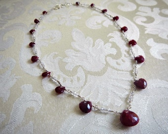 Genuine Ruby and White Topaz Necklace - Ready to Ship - Ruby Necklace - July Birthstone Necklace - Red Stone Necklace - Gaia's Candy
