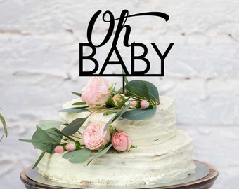 Baby Shower Acrylic Cake Topper - Oh Baby (ARC16102) MADE IN Australia | Oh Baby Cake Topper | Baby Shower Cake Topper | Baby Cake Topper