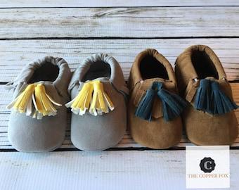 Baby Moccasins, Crib Shoes, metallic baby moccasins,