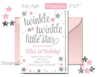 pink and silver first birthday invitation pink and silver