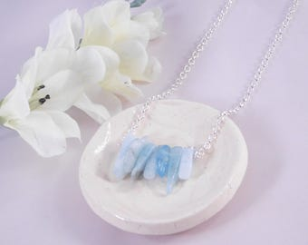 Natural Blue Stone Pendant Necklace - Silver Plated Chain Necklace - 20 Inches - Gift for Her