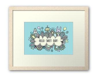 PRINTABLE Hello Sweet Baby Boy | Instant Digital Print Download | Full Colour Original Doodle Design