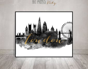Black and white print, London poster, Travel, London watercolor print, wall art, London, England, faux gold,  Home Decor, ArtPrintsVicky
