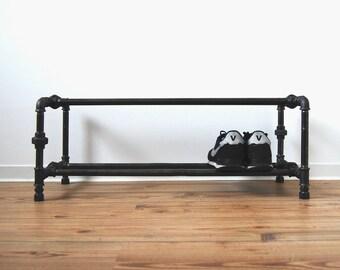 Shoe rack - steel galvanized pipe - black - shoe schelve