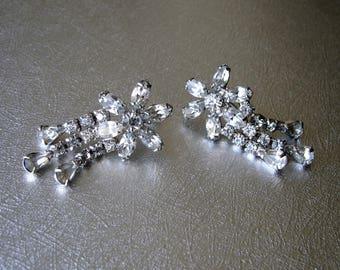 Marquis Rhinestone Flower Earrings Pear Chain Fringe Dangle Screw Back Wedding Formal Vintage Costume Jewelry MOH MOG MOB Bridesmaid Pageant