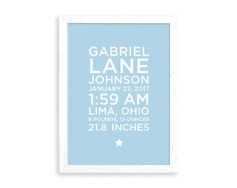 Birth announcement wall art, baby birth stats, nursery wall art, baby subway art, personalized, baby girl, baby boy