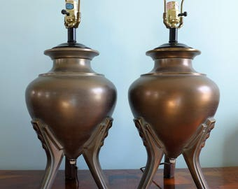 Pair of Antiqued Brass Urn Table Lamps Tripod Metal Lamp Base Modern Art Deco Design Reliance Lamp Co Bronze Legs Three Way Switch