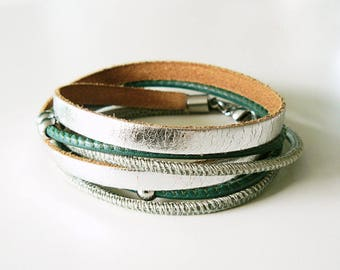 Wrap bracelet leather, leather bracelet, silver green, Boho, genuine leather bracelet, leather wrap bracelet, double wrapped, gift for her, gifts