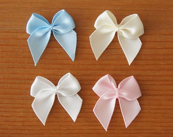 Small Ribbon Bow Embellishment 25mm Baby Pink Blue Ivory Off-white Pastel Colors Cute Magical Girl Lolita Fashion Cosplay Sewing Craft DIY