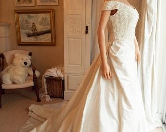 Ivory silk wedding dress Italian designer silk wedding dress Ivory pure silk wedding dress Beaded silk wedding dress with train Off shoulder
