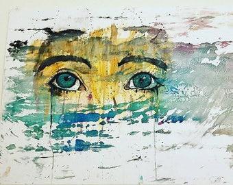 Green Eyes Wall Art Drawing