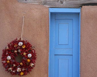 Window and Ristra - Ristra - Blue Window - Southwest Decor - Window - Ristra Decor - Western - Fine Art Photography