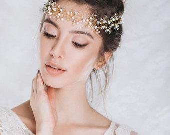 Bridal Crown, Wedding Wreath, Bridal Headband, Bridal Headpiece, Wedding Tiara, Bridal Hair Vine, Bridal Tiara, Hair Accessories- IRIS