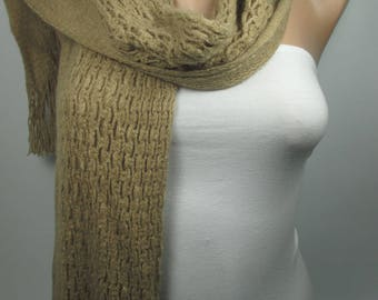 Knitted Scarf Camel Cowl Scarf Long Scarf Women Men Fashion Accessories Christmas Gift Ideas For Her For Him Holiday Gift For Her For Him