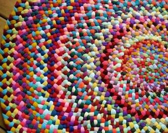 Gemacht auf Bestellung bunte geflochten Runde Teppich in Upcycled Baumwolle