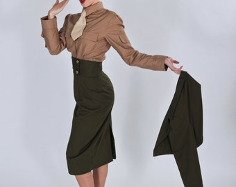 Pinup Military Pin Up Army Outfit Steampunk Skirt Cropped Jacket  Shirt & Tie Garrison Wedge Cap Hat Cosplay Costume Custom Size Plus