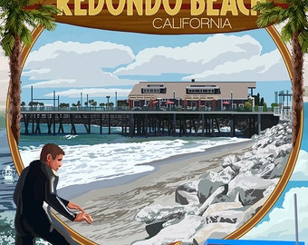 Redondo Beach, California - Montage Scenes (Art Prints available in multiple sizes)