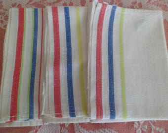 Vintage Startex & Cannon Cotton Dish Tea Towels Utility Cloths (3) Red Blue Lime Green Stripes