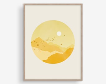 Yellow Wall Art, Scandinavian Print, Wall Decor Living Room, Large Wall Art, Mid Century Modern Art, Wall Art Bedroom, Mountain Print, Sun