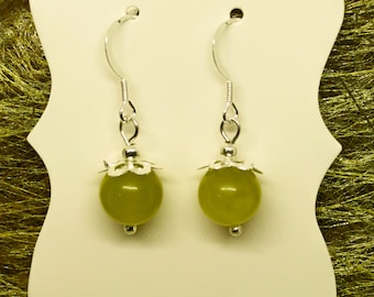 Oliven Jade hand made earrings, semi precious gemstone, on sterling silver ear wires, gift for her, classy, pretty earrings