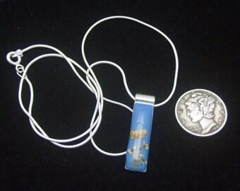 Vintage Silver Pendant, Blue Enamel Dried Flowers, Blue Pendant Necklace, Silver Snake Chain, Dark Blue Enamel Dried Flowers