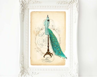 Mannequin print, peacock tail bustle, French art print, vintage fashion, A4 giclee