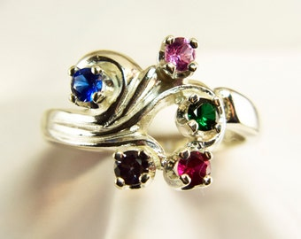 Mother's Ring, Mothers Birthstone Ring, Grandmother's Ring, or Family Ring Silver, 3-7 Gems (Gold Request Pricing)FREE RHODIUM Plating