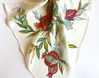 White red green graphic scarf Silk shawl Fruit scarf Pomegranates gift Neck silk scarf Paint by hand floral scarf Silk bandana Unique gift