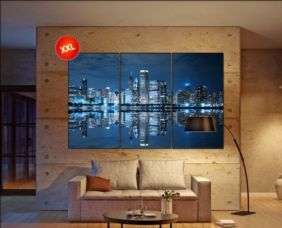 Chicago cityscape  canvas skyline Chicago cityscape wall decoration Chicago cityscape canvas art  wall decor canvas art