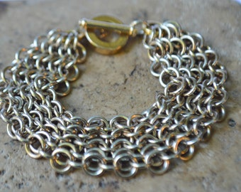 Gold Toned Chainmaille Bracelet