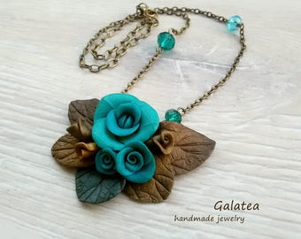 Turquoise Blue Roses necklace Blue flowers jewelry Vintage roses Handmade Rose jewelry Nature inspiration necklace Floral Bronze jewelry