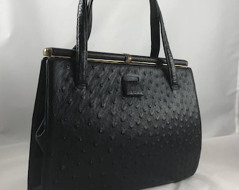 Vintage 1960s Lucille De Paris Handbag Purse Structured Ostrich Black