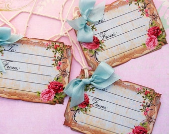 Shabby Roses Gift Tags