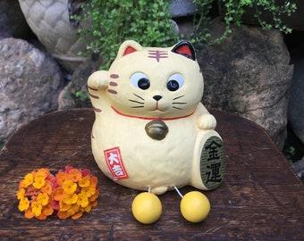 Japanese Yellow Bisque Porcelain Figurine 招き猫 Maneki Neko Beckoning Cat Good Luck Charm Coin Bank Okimono