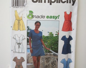 90s romper / womens romper / summer romper / scoop neck / button down / 1998 sewing pattern, Size 10 12 14, Bust 32 34 36, Simplicity 8126