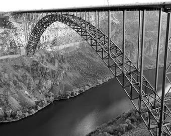 Perrine Bridge Snake River Canyon, Twin Falls ID Black and White Photo