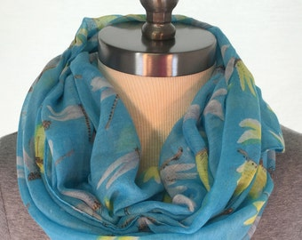 Womens Sky Blue Scarf with Dragonflies -Free Shipping! Long Scarf. Large Scarf. Women Fashion Accessories. Gift Ideas For Her. Holiday Gift.
