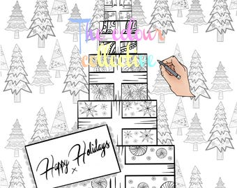 Christmas coloring digital stamp printable download Christmas presents