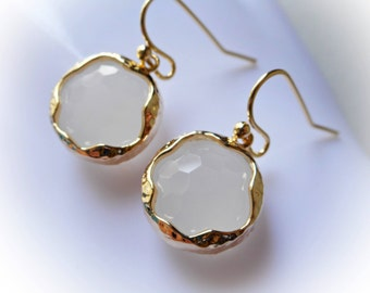 White gold earrings, dainty white opal glass earrings, round faceted dangle earrings, gold plated jewelry, gift for her, summer alabaster