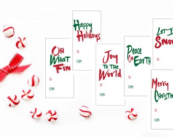 Printable Holiday Stickers- Download Christmas Tags - Printable Christmas Tags - Printable Holiday Tags - Oh What Fun - Modern Holiday Tags