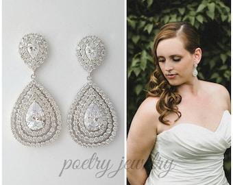 Bridal Earrings, Crystal Wedding Earrings, Layered Drop Earrings, Rose Gold, Gold, Large Teardrop Earrings, Wedding Jewelry, Etta