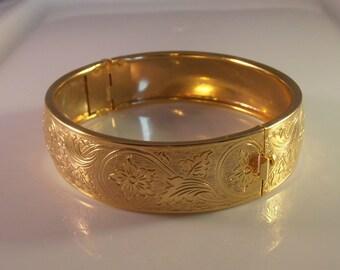 Victorian Revival Bangle Bracelet, Ornate Stamped Floral, Highly Gilded Hinged Stacking