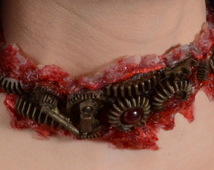 Steampunk Halloween Costume  -  Zombie Gear Choker - Antique Brass  Tone - Slit throat Cyberpunk