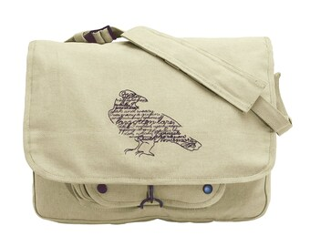 Wordy Bird Edgar Allan Poe The Raven Embroidered Canvas Messenger Bag