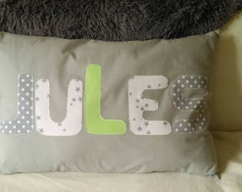 Cushion cover gray 60/40 with name without cushion (made to order)