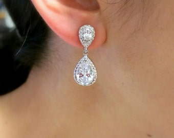 CLIP-ONS wedding bridal jewelry bridesmaid prom gift party pageant Clear white teardrop cubic zirconia teardrop cz rhodium or post earrings