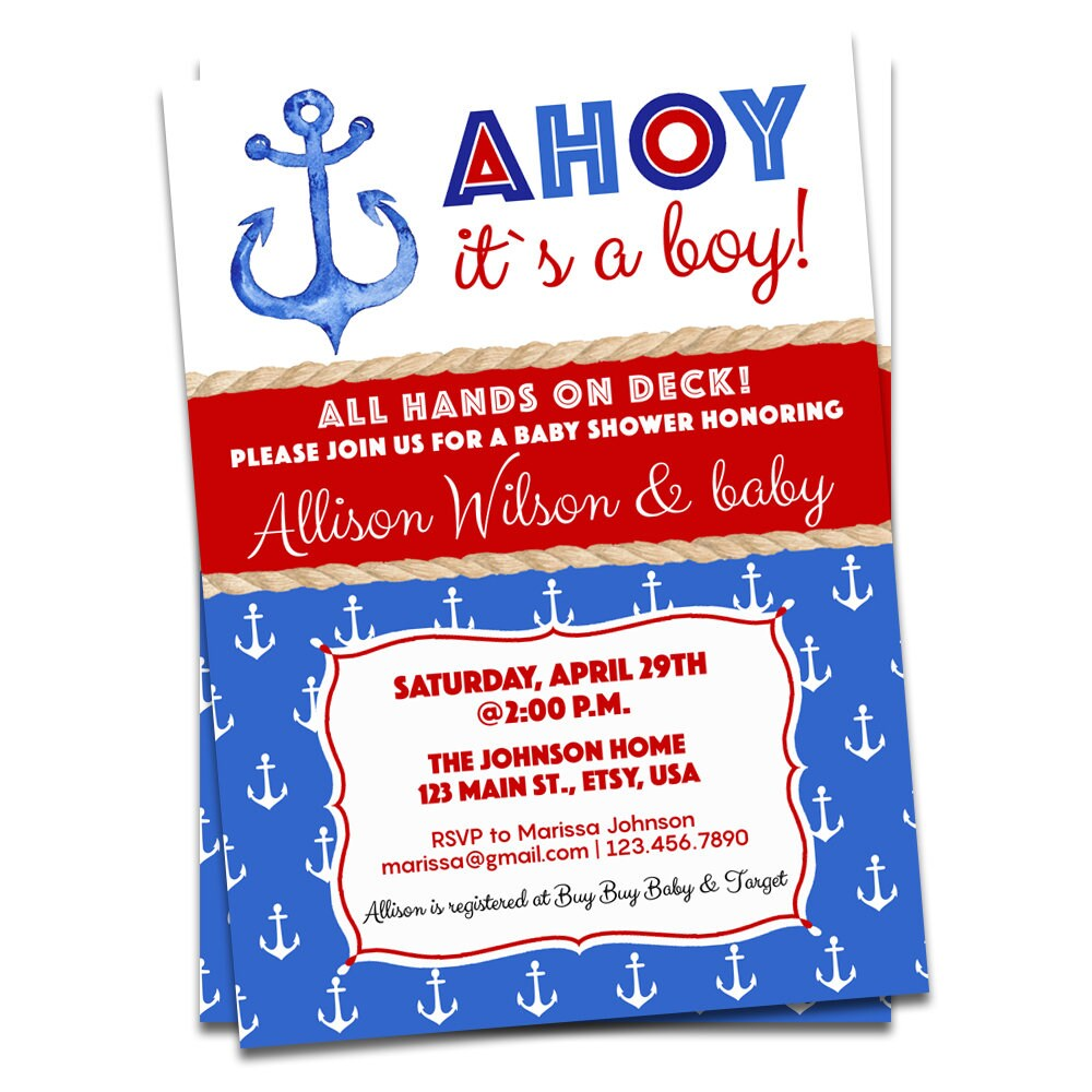 Nautical Baby Shower Invitation Boy Baby Shower Ahoy