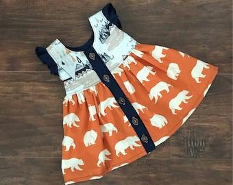 Rustic Summer Dress, Girls Easter Dress, Orange Girls Dress, Flower Girl Dress, Summer Dress, Spring Dress