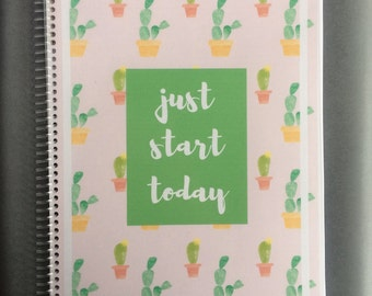 Pink Cactus Planner Cover and Back
