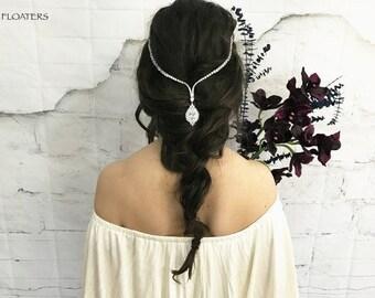 Bridal crystal headpiece headband, forehead headpiece, Bridal tiara, wedding hair jewelry, cubic zirconia jewelry, tiaras